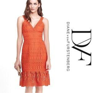 🆕 DVF   Lace Overly Midi Sundress NWT